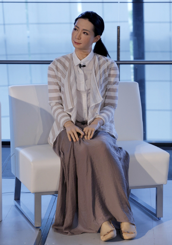 A female-announcer robot called Otonaroid speaks during a press event at the National Museum of Emerging Science and Innovation Miraikan in Tokyo Tuesday, June 24, 2014. The latest creations from  ...