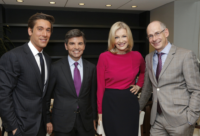 This image released by ABC News shows, from left, David Muir, George Stephanopoulos, Diane Sawyer and ABC News President James Goldston on Wednesday, June 25, 2014, in New York. (AP Photo/ABC, Hei ...
