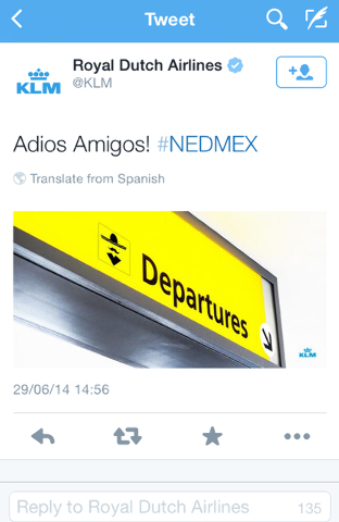 A screenshot of the KLM twitter account shows a tweet that appeared shortly after the Netherlands defeated Mexico in the World Cup in Brazil on June 29, 2014. What was meant to be a harmless joke  ...