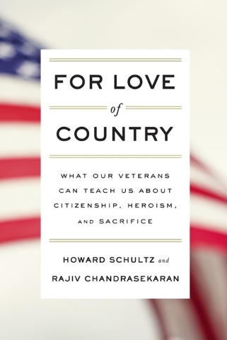 "This book cover image released by Knopf shows ""For Love of COuntry: What Our Veterans Can Teach Us About Citizenship, Heroism, and Sacrifice,"" by Howard Schultz and Rajiv Chandrasekaran. ..."