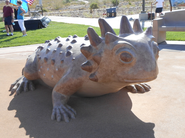 Mountain Lake Park is decorated with giant statues of various reptiles native to the Mojave Desert. The city of Henderson recently completed the park and hosted a grand opening ceremony. (Michael  ...