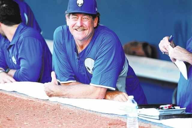 51s pitching coach Frank Viola watches watches from the dugout before a baseball game against the Fresno Grizzlies at Cashman Field on Friday, June 6, 2014. Viola is joining the team for the first ...