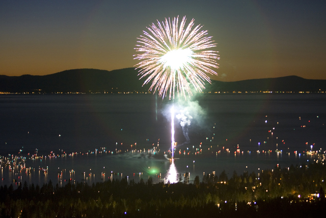 Fireworks exploding over Lake Tahoe are seen from Heavenly Mountain Resort. (AP Photo/The Tahoe Daily Tribune, Jonah M. Kessel)