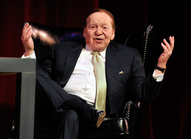 Las Vegas Sands Corp. CEO Sheldon Adelson speaks to hospitality students at UNLV on Monday, May 5, 2014. (David Becker/Las Vegas Review-Journal)