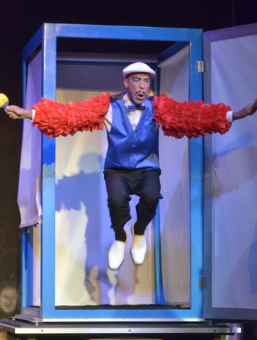 """Abel Amat, as Cuban Pete, springs from a box at the end of an illusion during """"Magia"""" in the Wolf Theater at the Clarion hotel-casino at 305 Convention Center Drive in Las Vegas on Thurs ..."""