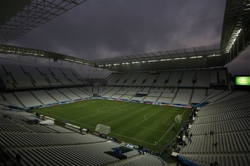 A view of the Itaquerao Stadium during an official training session the day before the group A World Cup soccer match between Brazil and Croatia in the Itaquerao Stadium, Sao Paulo, Brazil, Wednes ...