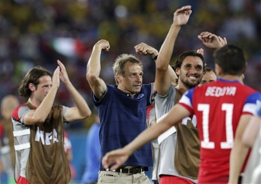U.S. coach Jurgen Klinsmann celebrates his team's 2-1 victory over Ghana in their World Cup opener Monday. The German moved to California with his American wife when his playing career ended in  ...