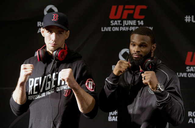 Tyron Woodley poses in Burnaby, Bristish Columbia, in preparation for his UFC 174 fight Saturday against Rory MacDonald.  (AP Photo/The Canadian Press, Jonathan Hayward)