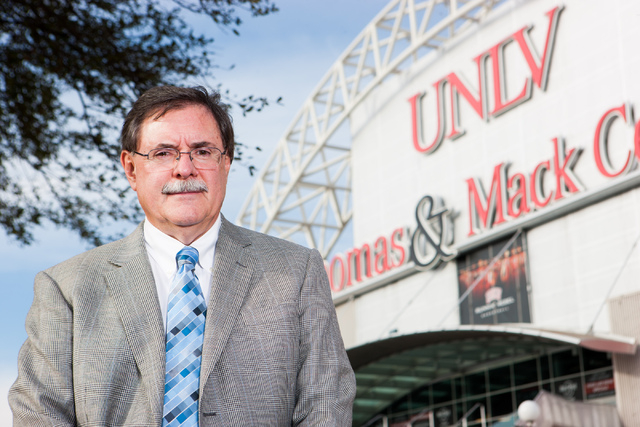 UNLV Senior Vice President for Finance and Business Gerry Bomotti poses outside of the Thomas & Mack Center in Las Vegas on Friday, Feb. 7, 2014. Bomotti said Thursday that the original site chose ...
