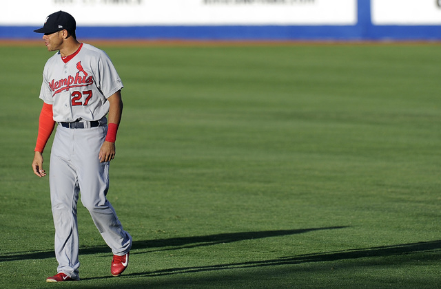 Memphis Redbirds outfielder Tommy Pham warms up before the start of a Triple-A minor league baseball game against the Las Vegas 51s at Cashman field in Las Vegas Saturday, June 21, 2014.(Josh Holm ...