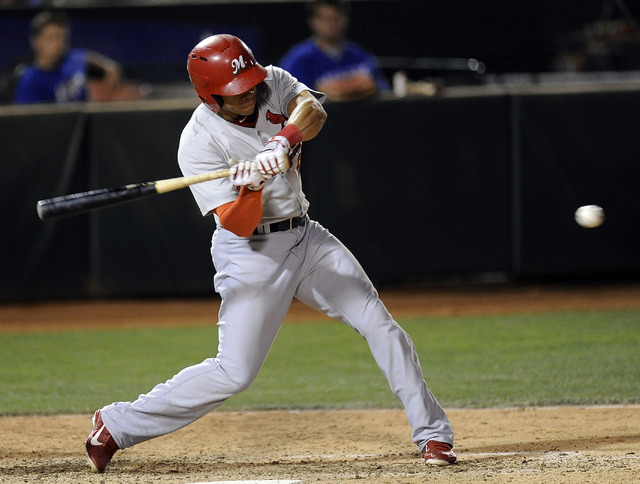 Memphis Redbirds outfielder Tommy Pham hits a pinch hit double in the seventh inning of a Triple-A minor league baseball game against the Las Vegas 51s at Cashman field in Las Vegas Saturday, June ...