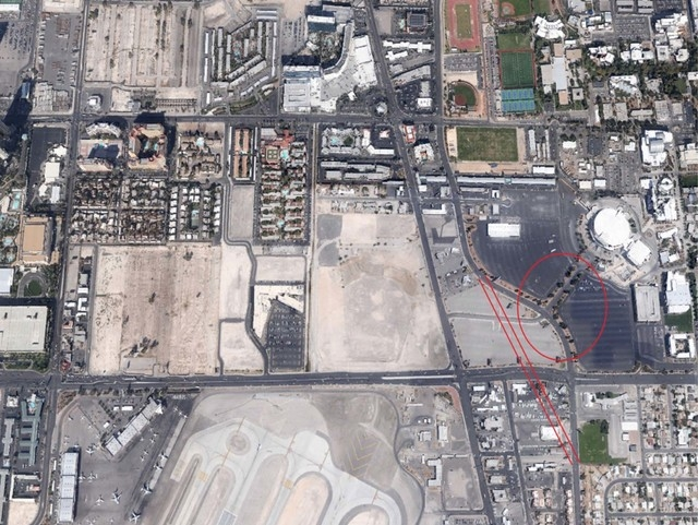 This image shows a new site that could be home to the 50,000-seat stadium on the UNLV campus. The red circle indicates a possible site next to the Thomas & Mack Center. Another possibility would p ...