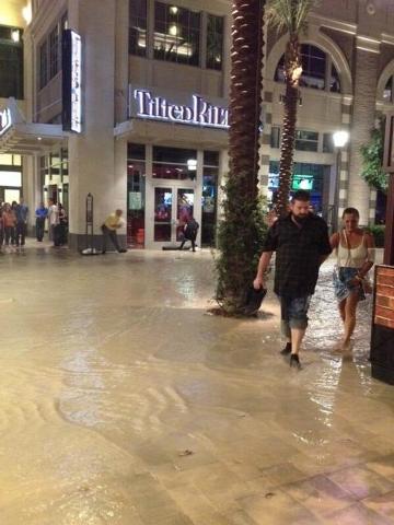 The Linq dealt with flooding on Saturday night. (Alex Corey/Las Vegas Review-Journal)