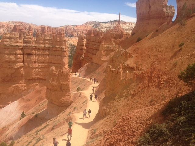 Hikers walk on the Navajo Trail at Bryce Canyon National Park. (ALAN SNEL/LAS VEGAS REVIEW-JOURNAL)