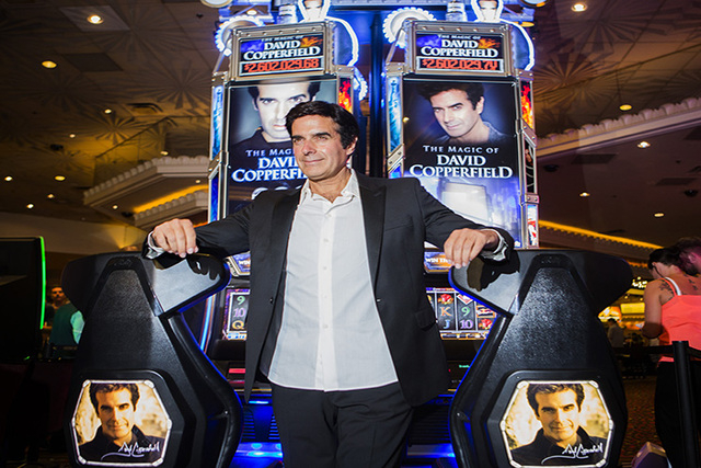 David Copperfield unveils a slot machine with his namesake at MGM Grand on Thursday, June 26, 2014. The progressive slot machine is Bally Technologies' latest line of themed games. (Jeff Scheid/La ...