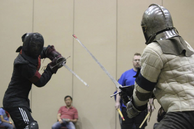 Participants face each other at Combat Con 2014, a gathering at the Riviera celebrating the historical European martial arts. (Photos courtesy Gina Nichole with Gina V Photography)