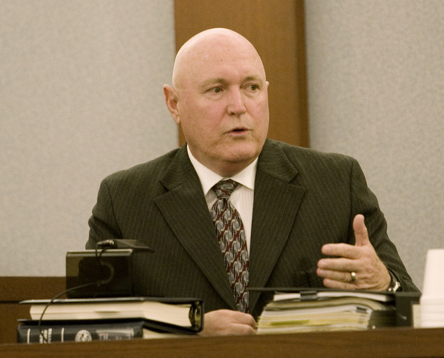 Detective Kevin Manning testifies during the penalty phase of the Charles Conner Murder trial held at the Regional Justice Center Tuesday July 20, 2010. (CRAIG L. MORAN/LAS VEGAS REVIEW-JOURNAL)