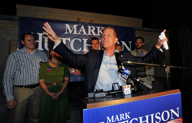 State Sen. Mark Hutchison, R-Las Vegas, gives his victory speech after winning his GOP primary race for lieutenant governor over Sue Lowden during his election returns watch party at Dom DeMarco's ...