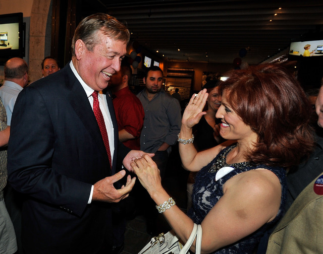 Congressional candidate Cresent Hardy smiles with supporter Adriana Toscano during an election returns watch party at Dom DeMarco's Pizzeria & Bar on Tuesday, June 10, 2014. (David Becker/Las Vega ...