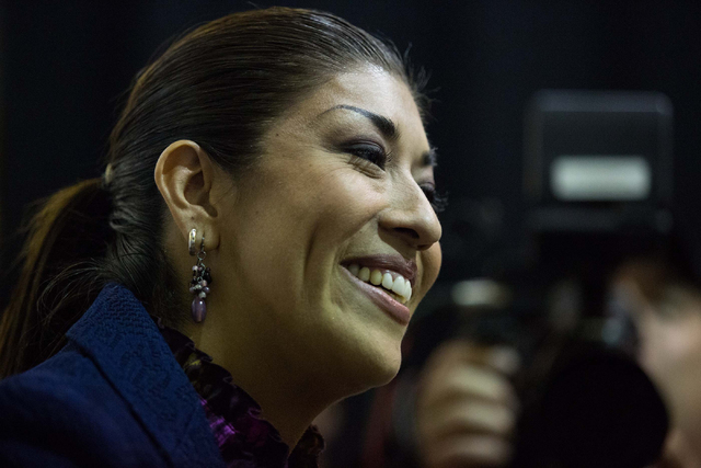 Assemblywoman Lucy Flores, D-Las Vegas, talks with a supporter during an election night party for Nevada Democrats at The International Alliance of Theatrical Stage Employees Local 720, located at ...