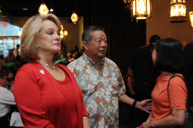 Republican lieutenant governor candidate Sue Lowden, left, mingles at her election night party at Mundo restaurant in Las Vegas Tuesday, June 10, 2014. (Erik Verduzco/Las Vegas Review-Journal)