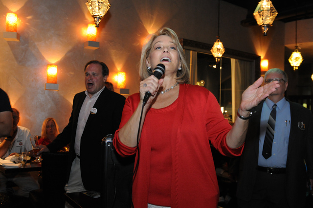Republican lieutenant governor candidate Sue Lowden concedes her race against her opponent at her election night party at Mundo restaurant in Las Vegas Tuesday, June 10, 2014. (Erik Verduzco/Las V ...