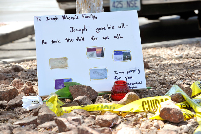 A make shift memorial to Joseph Wilcox who was killed at the Walmart store at 201 N. Nellis Blvd. on Monday, June 9, 2014. The store was the scene of a police shoot out with Jerad Miller and his w ...