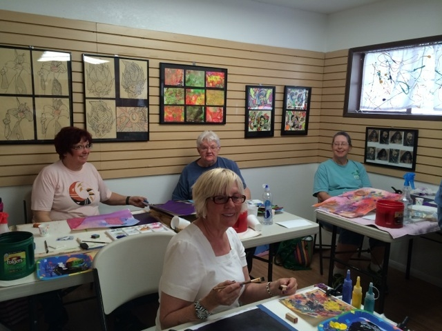 People are shown at an abstract art class at the City Lights Art Gallery. The gallery also provides classes on water colors and acrylics. (Special to View)
