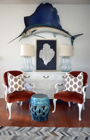 "Photos © Myquillyn Smith, Courtesy Zondervan Myquillyn Smith call this fish ""a $350 splurge"" that she found on Craigslist. She picked up the velvet chairs at the Salvation Army for $40 each."