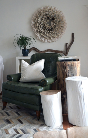 Photo © Myquillyn Smith, Courtesy Zondervan This cozy area was completed on a budget with a $20r thrift-shop chair, free tree stumps for tables, book page wreath made for less than $10 and a $16  ...