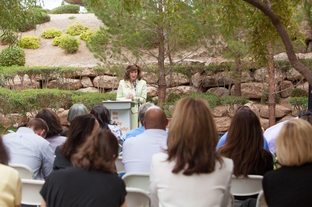 Victoria Van Meetren, president of St. Rose Dominican Hospitals San Martin campus, speaks to residents and hospital staff May 7 as the campus, 8280 W. Warm Springs Road, is designated baby-friendl ...