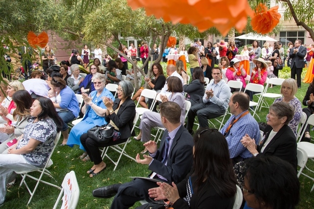 Residents and hospital staff members gather May 7 as the St. Rose Dominican Hospitals San Martin campus, 8280 W. Warm Springs Road, is designated baby-friendly by the World Health Organization and ...