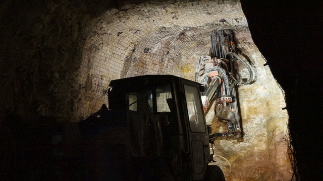 Bolter operator installing ground support in an underground heading. (Courtesy Barrick Gold of North America)