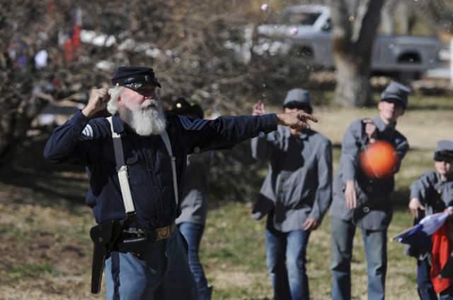 Organizer Jim Edwards commands troops to attack each other using water-soaked sponge bombs during an educational Civil War re-enactment at Spring Mountain Ranch State Park in January 2014. The Nev ...