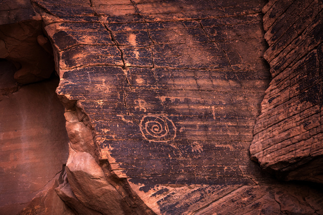 A petroglyph in the Gold Butte area are seen Thursday, May 22, 2014. The Gold Butte Region, administered by the BLM and the U.S. National Park Service, is about 2 1/2 hours east of Las Vegas. (Jef ...