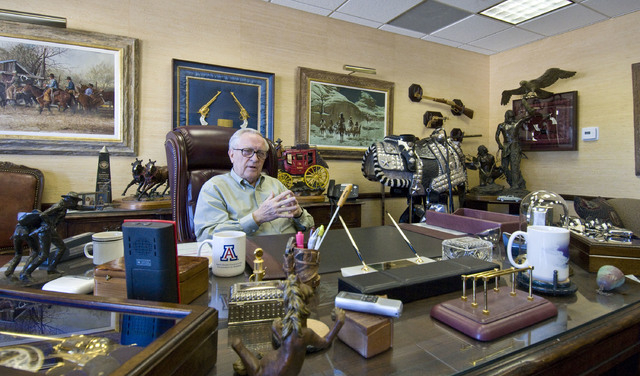 JERRY HENKEL/LAS VEGAS REVIEW-JOURNAL Jim Rogers speaks to a reporter about his interest in becoming interim superintendent of the Clark County School District during an interview in his office at ...