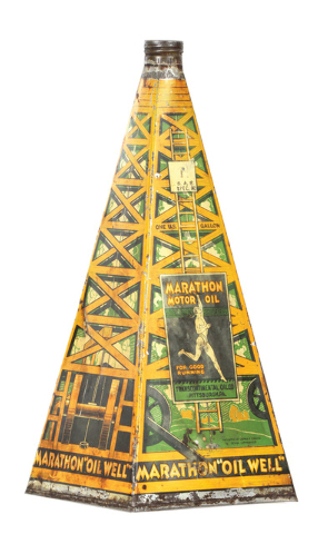 Cowles Syndicate Inc. This pyramid-shaped tin/lithographed can is hand-soldered. It probably was made before 1940. It sold for $4,830 at a William Morford auction in Cazenovia, N.Y., in March.