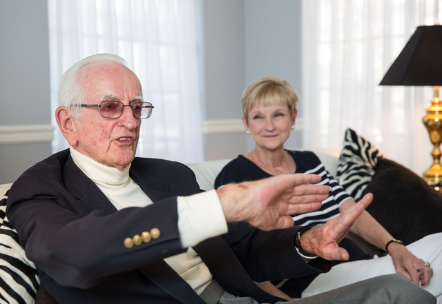Robert Morrison, 90, sists with his daughter Ann Brown at her home while talking about his career in dentistry and raising his family in Las Vegas. (Samantha Clemens-Kerbs/View)