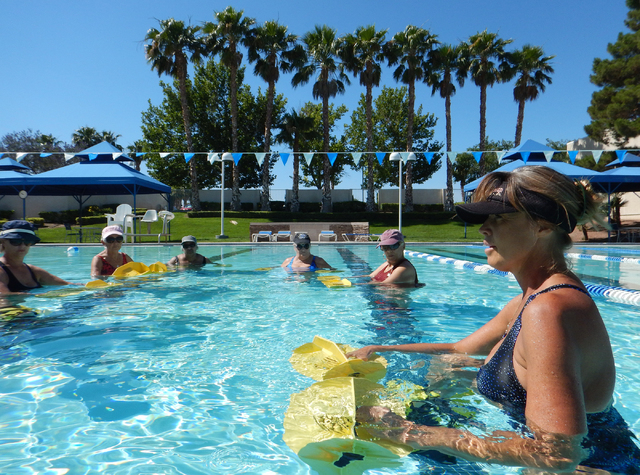 Lorelei Sprott takes part in her Aqua-tone exercise class May 27 at ClubSport Green  Valley, 2100 Olympic Ave. (Samantha Clemens-Kerbs/View)