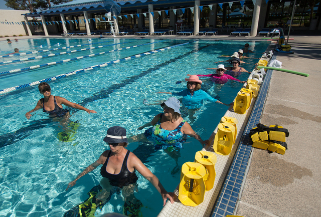 Residents take part in Lorelei Sprott's Hydro-tone exercise class at ClubSport Green Valley. (Samantha Clemens-Kerbs/View)