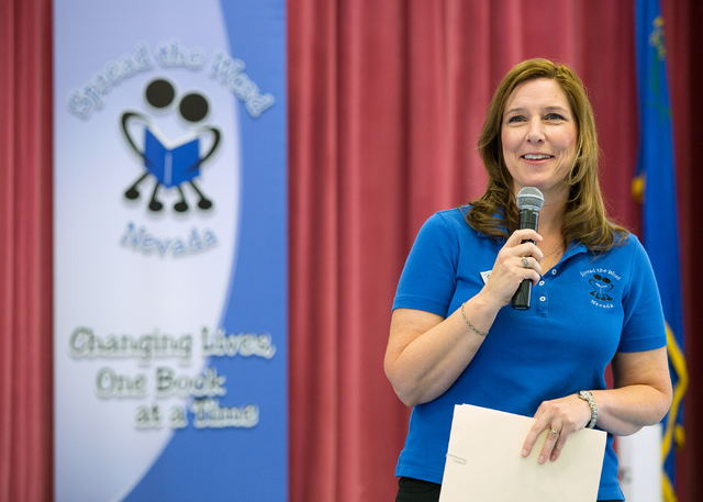 Lisa Habighorst, executive director of Spread the Word Nevada, speaks during a book donation event the organization put on May 28 at Vegas Verdes Elementary School. (Samantha Clemens-Kerbs/View)