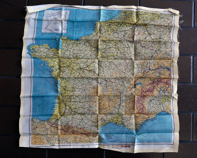 A map of France printed on a piece of fabric was used as a navigation aid for soldiers during World Ward II is seen on Wednesday, June 4, 2014. (David Becker/Las Vegas Review-Journal)