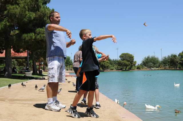 Christopher Beaumont, left, feeds the birds with his son Tre, 9, at Sunset Park in Las Vegas Saturday, May 31, 2014. Beaumont, a single father, is an organizer for Single Parents of Las Vegas wher ...