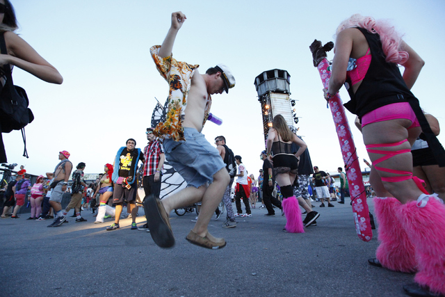 Nick Gross of Galt, Calif. dances as  at the Basspod stage at the Electric Daisy Carnival at Las Vegas Motor Speedway on Friday, June 20, 2014. (Chase Stevens/Las Vegas Review-Journal)