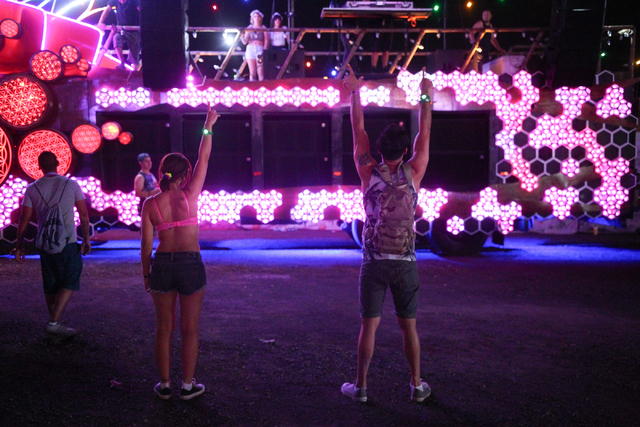 Attendees react as a DJ performs at an installation at the Electric Daisy Carnival at the Las Vegas Motor Speedway in Las Vegas on Friday, June 20, 2014. (Chase Stevens/Las Vegas Review-Journal)