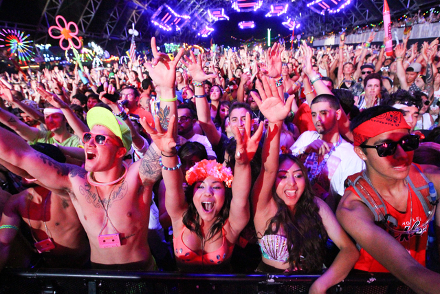 Attendees react as Cazzette performs at the Circuit Grounds stage at the Electric Daisy Carnival at the Las Vegas Motor Speedway in Las Vegas on Saturday, June 21, 2014. (Chase Stevens/Las Vegas R ...