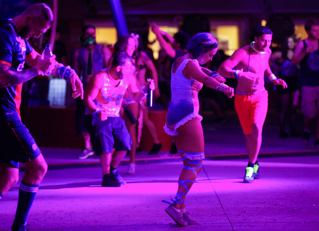 Fans dance at the Discovery Project stage at the Electric Daisy Carnival at the Las Vegas Motor Speedway in Las Vegas on Saturday, June 21, 2014. (Chase Stevens/Las Vegas Review-Journal)