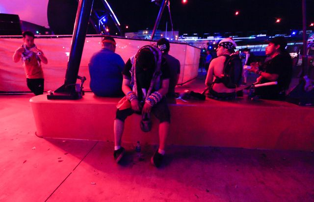 An attendee takes a break near the Discovery Project stage at the Electric Daisy Carnival at the Las Vegas Motor Speedway in Las Vegas on Saturday, June 21, 2014. (Chase Stevens/Las Vegas Review-J ...