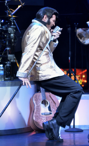 "Travis Allen performs as Elvis Presley during ""All Shook Up"" at the V Theater in the Miracle Mile Shops at the Planet Hollywood hotel-casino at 3667 Las Vegas Blvd., South, on Thursday,  ..."