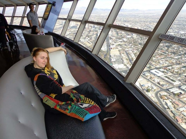 """Amanda Miller is shown here wearing a """"Batman"""" shirt during a visit to the Stratosphere Tower in Las Vegas. (Courtesy, Facebook)"""